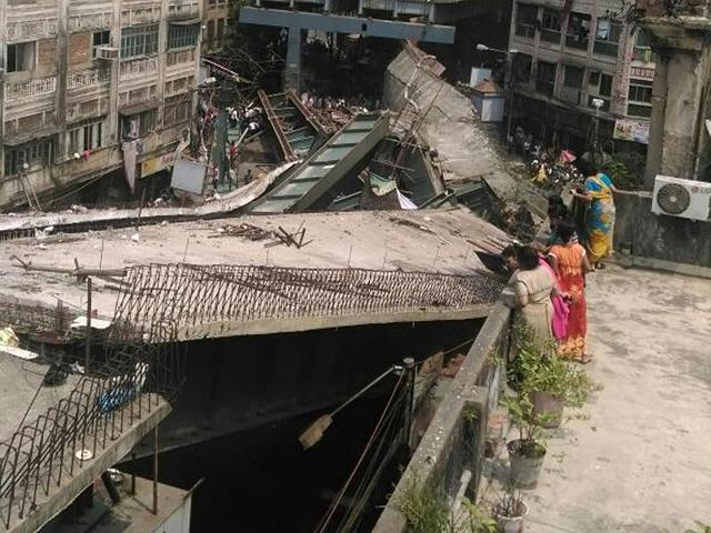 A portion of the flyover that collapsed in Kolkata on Thursday.