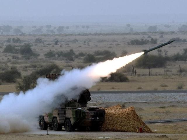 Indian Air Force demonstrates its combat and firepower, including Akash Missile, for the first time, in Pokhran, March 18.