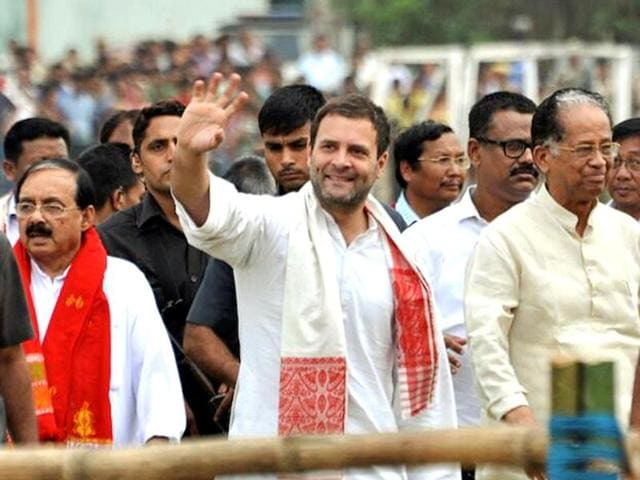 Rahul Gandhi, vice-president of the Indian National Congress party, addresses an election rally at Diphu in Karbi Anglong.