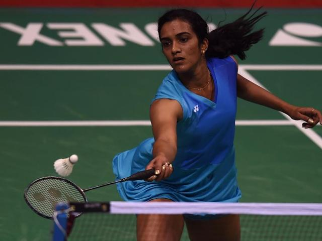 India's Pusarla V. Sindhu plays a shot during the Yonex-Sunrise India Open 2016 badminton tournament.