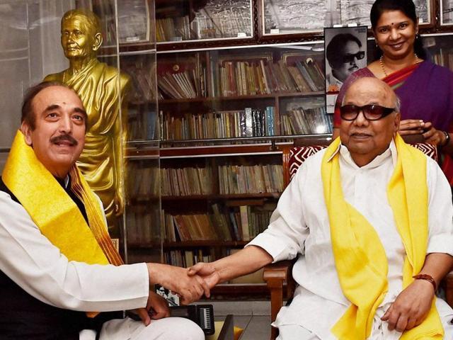 Congress leaders Ghulam Nabi Azad and Mukul Wasnik meet DMK chief M Karunanidhi at his residence in Chennai.