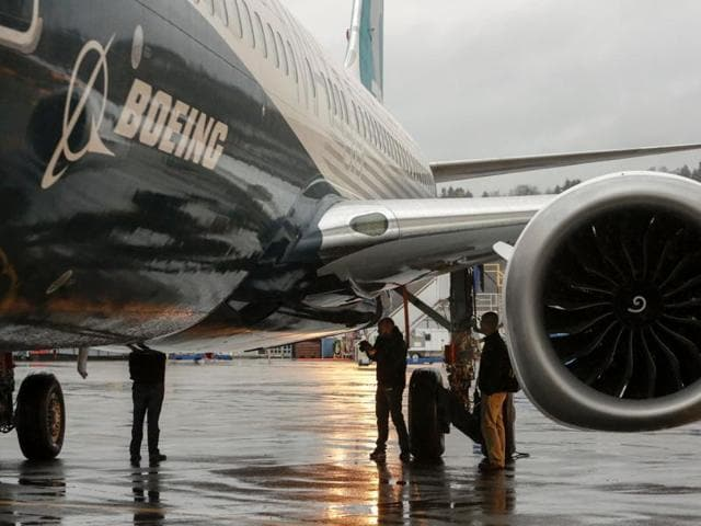This file photo taken on December 8, 2015 shows Boeing's 737 MAX named the