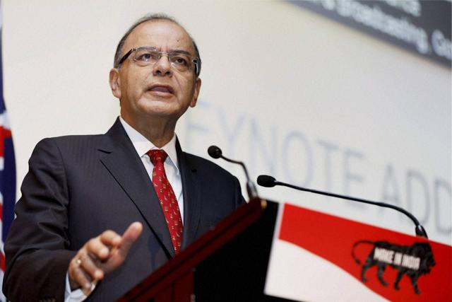 Union Finance Minister Arun Jaitley delivering the keynote address at the Make in India conference in Sydney on Wednesday.