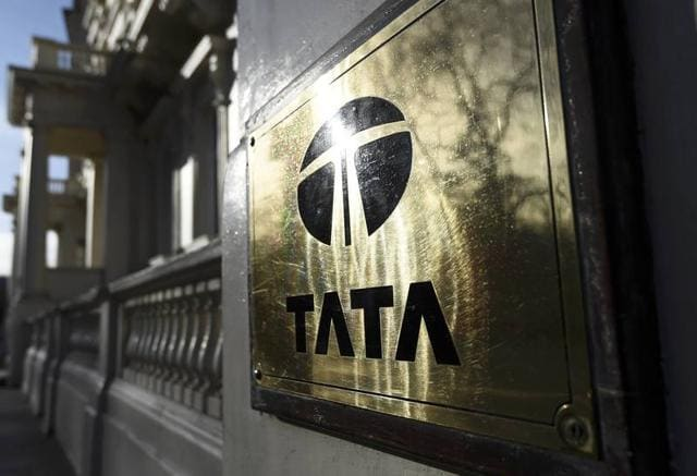 A Tata sign is seen outside their offices in London.
