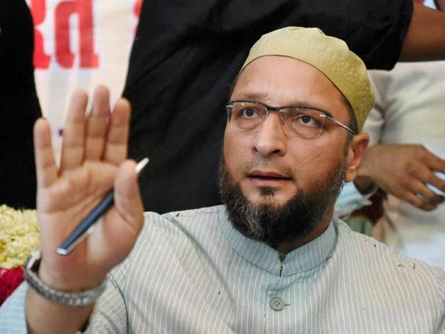 President of the All India Majlis-e-Ittehadul Muslimeen Asaduddin Owaisi at a press conference in Lucknow.