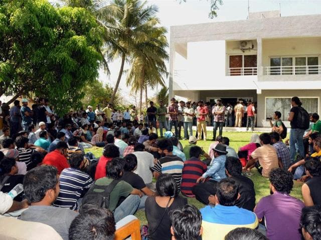 Students of Hyderabad Central University demanding justice for dalit scholar Rohith Vemula, holding a protest demonstration against the University VC in Hyderabad on Tuesday.