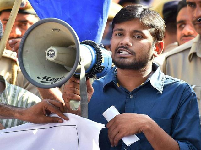 Kanhaiya Kumar addresses a protest march by various organisations demanding justice for Rohith Vemula at Jantar Mantar in New Delhi on Wednesday.