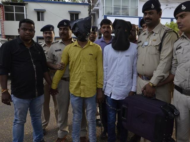 UCO bank loot accused in police custody in Bhopal on Thursday.
