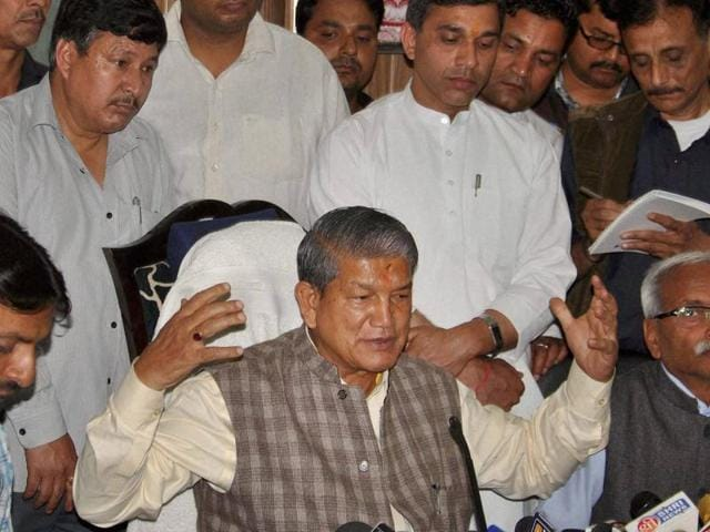 The state Congress, led by former Uttarakhand chief minister Harish Rawat, has protested against the imposition of President's Rule in the state.