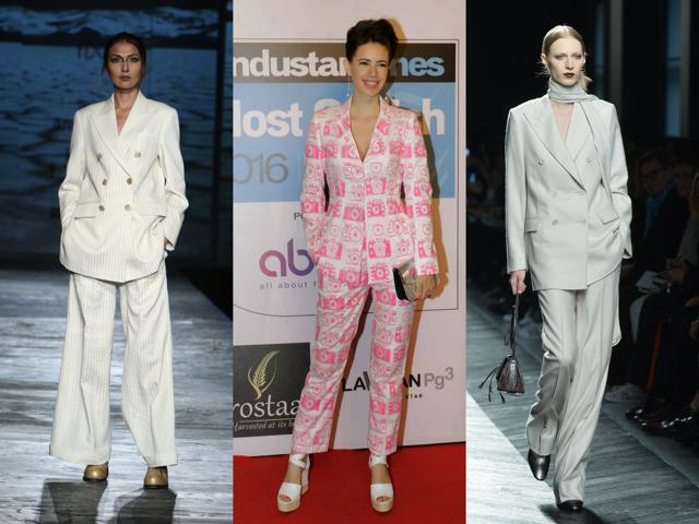 From runway to reality: Powersuits continue to trend. (L-R) Here's a model at designer Rajesh Pratap Singh's showcase at the recently concluded Amazon India Fashion Week; Kalki Koechlin in a Masaba powersuit at Mumbai's Most Stylish; and a model at Bottega Veneta show in Milan.