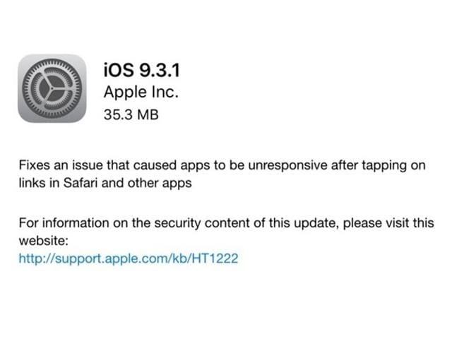 Apple releases iOS 9.3.1 which fixes the annoying bug that caused tapping web links to crash iPhones.