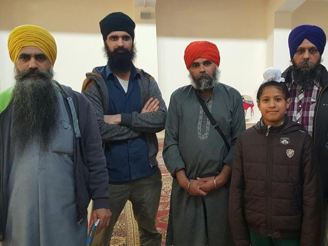 Granthi Baljit Singh (extreme left) and others who provided food, clothes and medicines to stranded passengers after the March 22 blasts at Brussels airport.