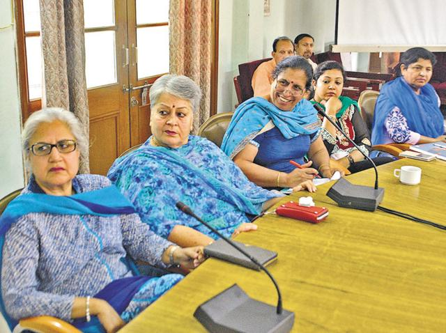 School principals during a meeting with DC Varun Roojam in Amritsar on Thursday.