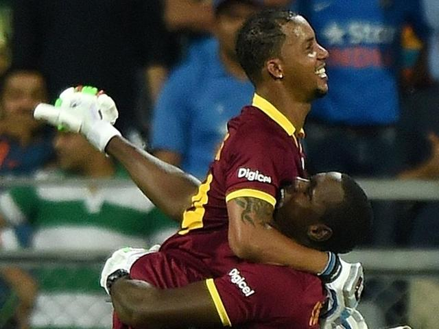 Lendl Simmons took full advantage of two no-ball dismissals, hitting 81 off 52 balls to power West Indies into Sunday's World T20 final against England.
