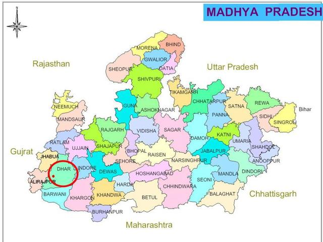 The map showing the village in Dhar district where the dacoits struck.