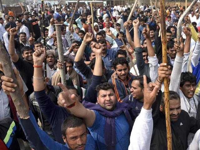 The protesting Jat community members demand reservation in government services in Bahadurgarh in Haryana on February 20, 2016.