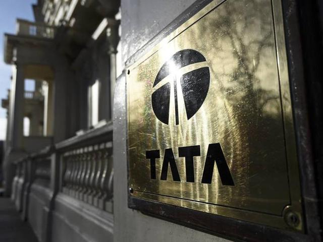 A Tata sign is seen outside their offices in London, Britain.