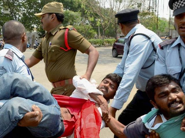 Security men taking away the students agitating for justice to Rohith Vemula at Hyderabad Central University last week.