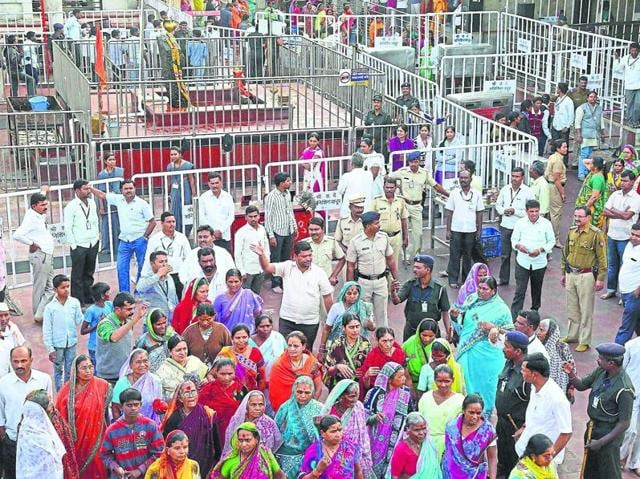 Women's rights activist Trupti Desai meeting Maharashtra chief minister Devendra Fadnavis regarding women's entry to Shani Shingnapur temple, in Pune.