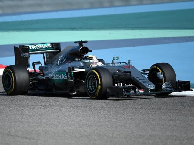 Mercedes AMG Petronas F1 Team's British driver Lewis Hamilton drives during the third practice session.