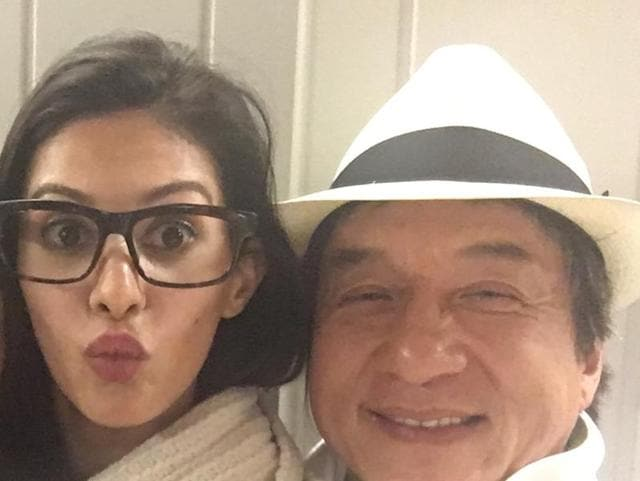 Actor Amyra Dastur and Jackie Chan are shooting for Kung Fu Yoga in Rajasthan.