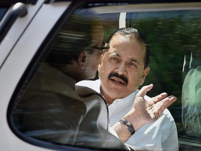 """Congress sought """"expulsion"""" of Jitendra Singh over reports alleging that an absconding murder accused was present at his residence last month."""