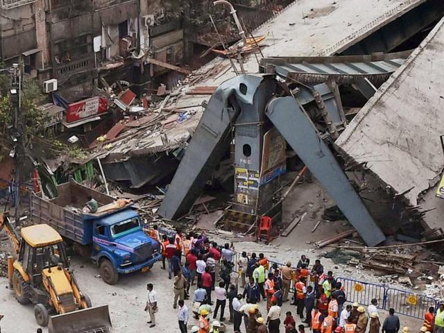 Aerial view of the site where an under-construction flyover collapsed on Vivekananda Road in Kolkata on Friday.
