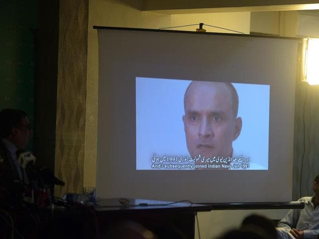 A projection of a video showing arrested man Kulbhushan Jhadav, who Pakistan has alleged is an Indian spy, during a press conference in Islamabad.