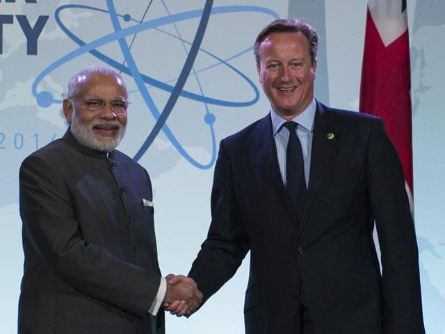 PM Narendra Modi during a meeting with British PM David Cameron during the 2016 Nuclear Security Summit in Washington DC on Friday.