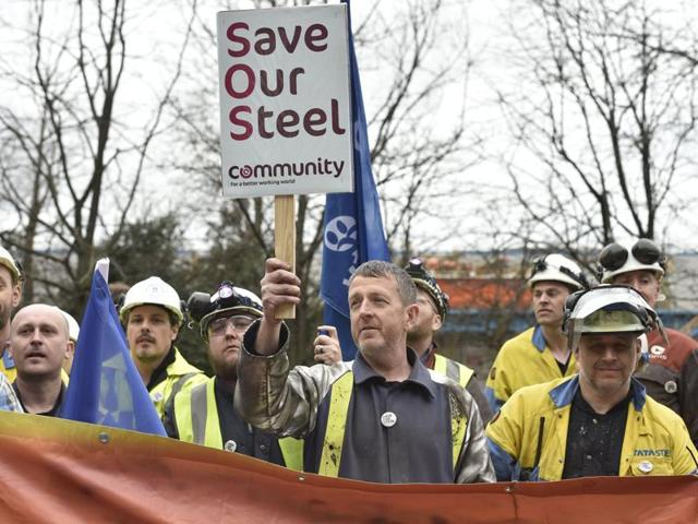 Britain's opposition Labour Party leader Jeremy Corbyn outside the Tata steelworks, Port Talbot, Wales, Britain.