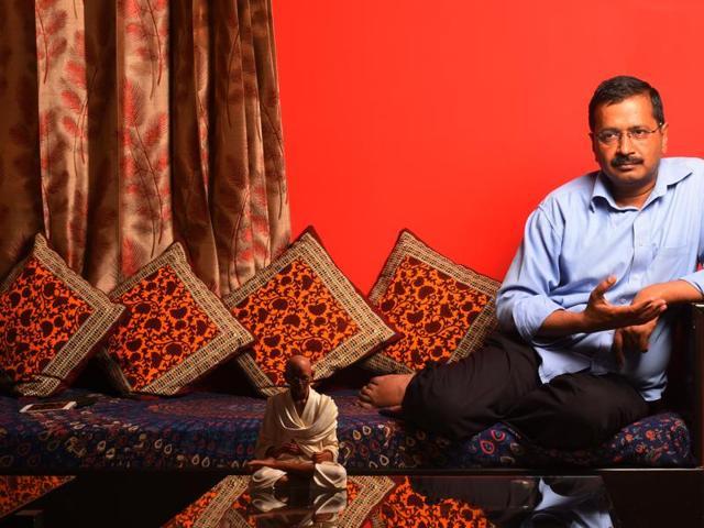 Arvind Kejriwal at his residence at Civil Lines, Delhi