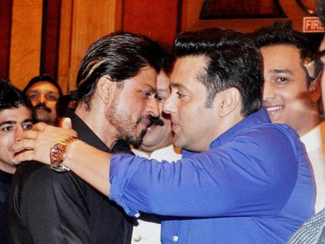 Shahrukh Khan and Salman Khan spotted together at Mehboob Studios in Bandra(W), Mumbai. in 2015.