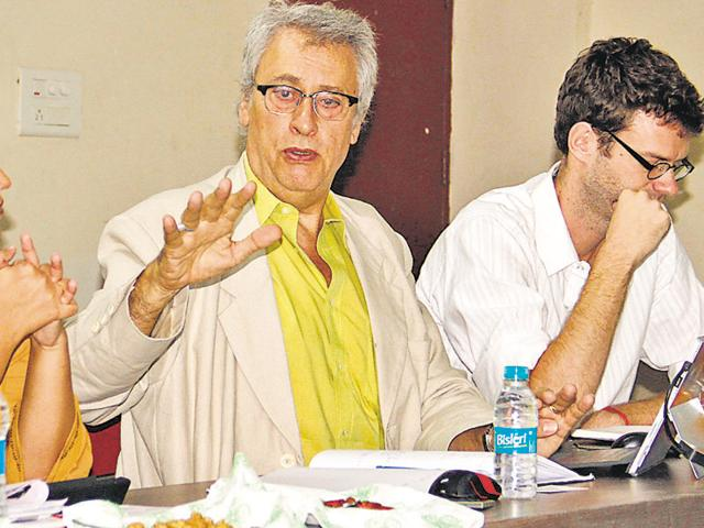 French team member architect Eric Dussiot during a meeting with railway authorities in Ludhiana on Saturday.