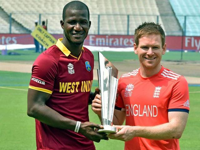 West Indies captain Darren Sammy and his England counterpart share a light moment ahead of the final on Sunday.