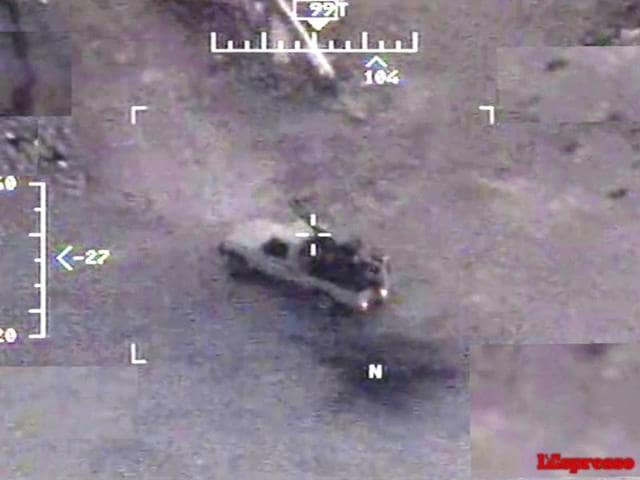 A still from an Italian Air Force Predator drone video shows images used to pinpoint targets in Islamic State territory in Iraq.
