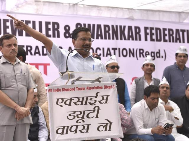 Delhi CM Arvind Kejriwal addresses a gathering of jewellers demanding roll-back of the budgetary proposal of excise duty on non-silver jewellery.