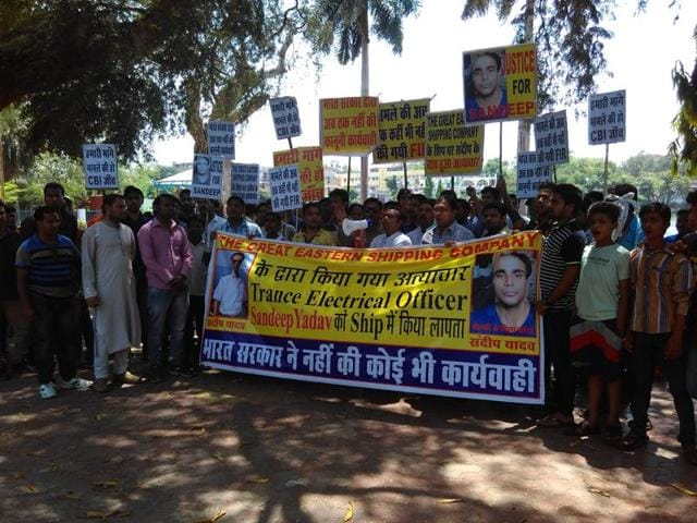 Family members and friends of missing merchant navy officer staging dharna at Neelam Park in Bhopal on Sunday.