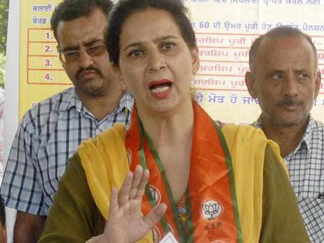 Navjot Kaur Sidhu, chief parliamentary secretary, at a public meeting at Verka in Amritsar on Monday.