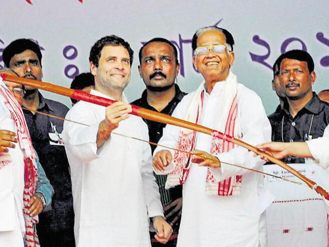 Assam chief minister Tarun Gogoi (centre) is confident of forming the government again in the state.