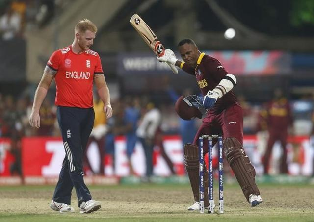 Marlon Samuels was fined 30% of his match fee for using abusive language directed at England's Ben Stokes (L) during the last over of West Indies' win in the World T20 final.