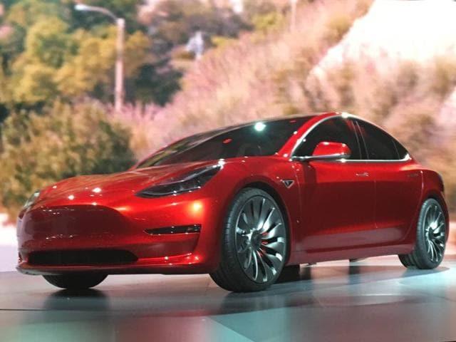 Tesla's Model 3 sedan at its launch in Hawthorne, California last week