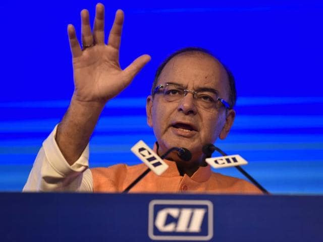 Finance minister Arun Jaitley speaks during Annual Session 2016 'Building National Competitiveness' by CII in Delhi.