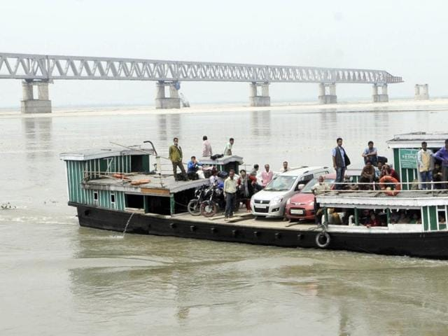 Bogibeel Bridge in Assam's Dibrugarh district has been under construction for the past 15 years. Incomplete bridges are one of the election issues in Assam this year.(Subhendu Ghosh)
