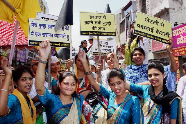 Jewellers and gold traders take out a rally in protest against the proposed hike in excise duty on jewellery, in Nagpur on Friday.