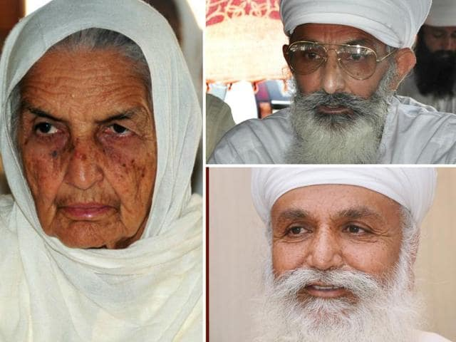 Clockwise from left: Chand Kaur, wife of the late Satguru  Jagjit Singh; her nephew Thakur dalip Singh who heads a faction at Sirsa; and her other nephew Uday Singh, who was chosen as Satguru at Bhaini Sahib sect headquarters after Jagjit Singh died.