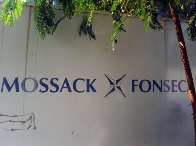 View of a sign outside the building where Panama-based Mossack Fonseca law firm offices are placed in Panama City.