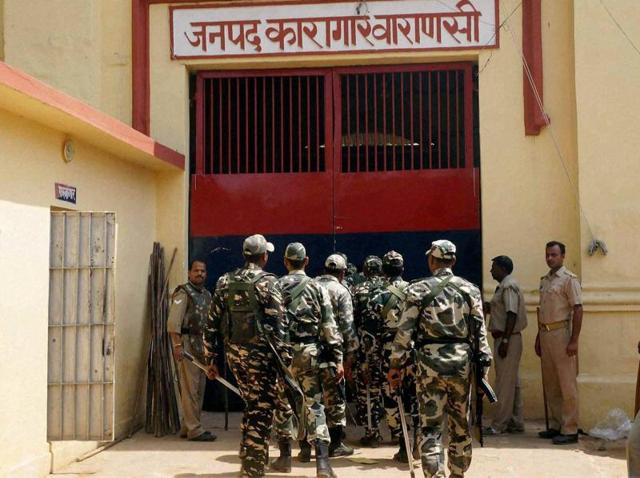 Police force deployed in Varanasi district jail during the clash between prisoners and prion staff.