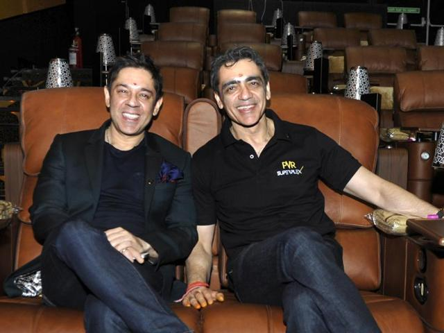 Ajay Bijli, CMD PVR, on the left, and Sanjeev Bijli, MD PVR, on the right, at PVR  in Noida.