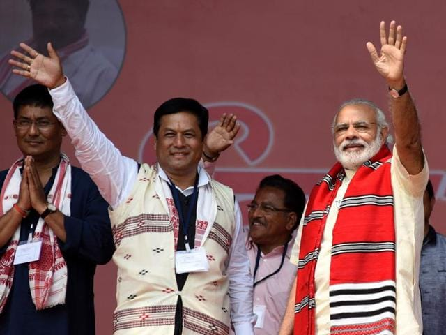 In Assam, for the first time in that state's history, the BJP has a fighting chance of getting its first chief minister.(HT Photo)
