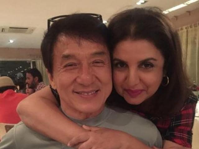 Jackie Chan and Farah Khan on the sets of Kung Fu Yoga. (Twitter)